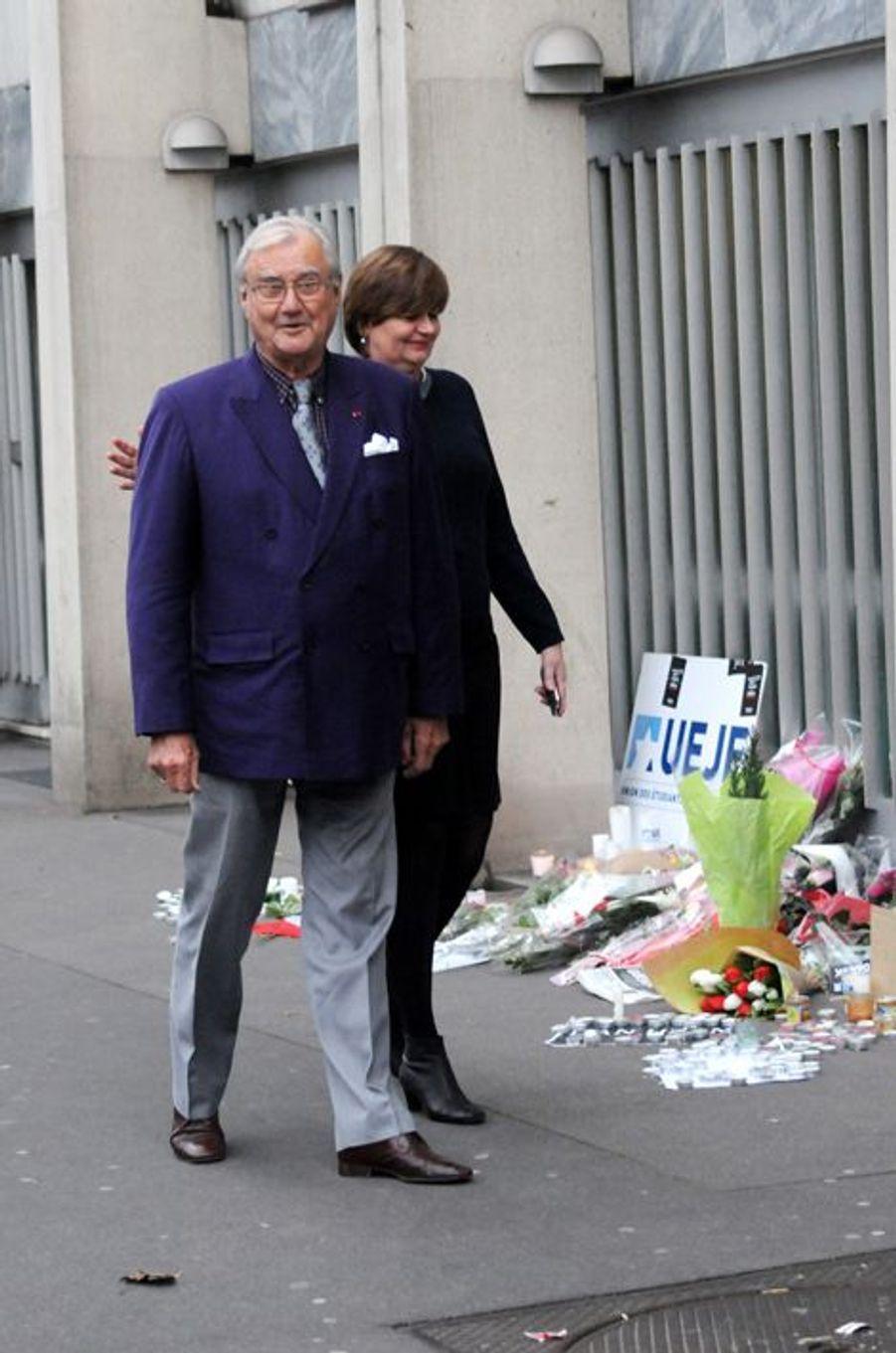 Le prince Henrik avec l'ambassadrice du Danemark à Paris, le 16 février 2015