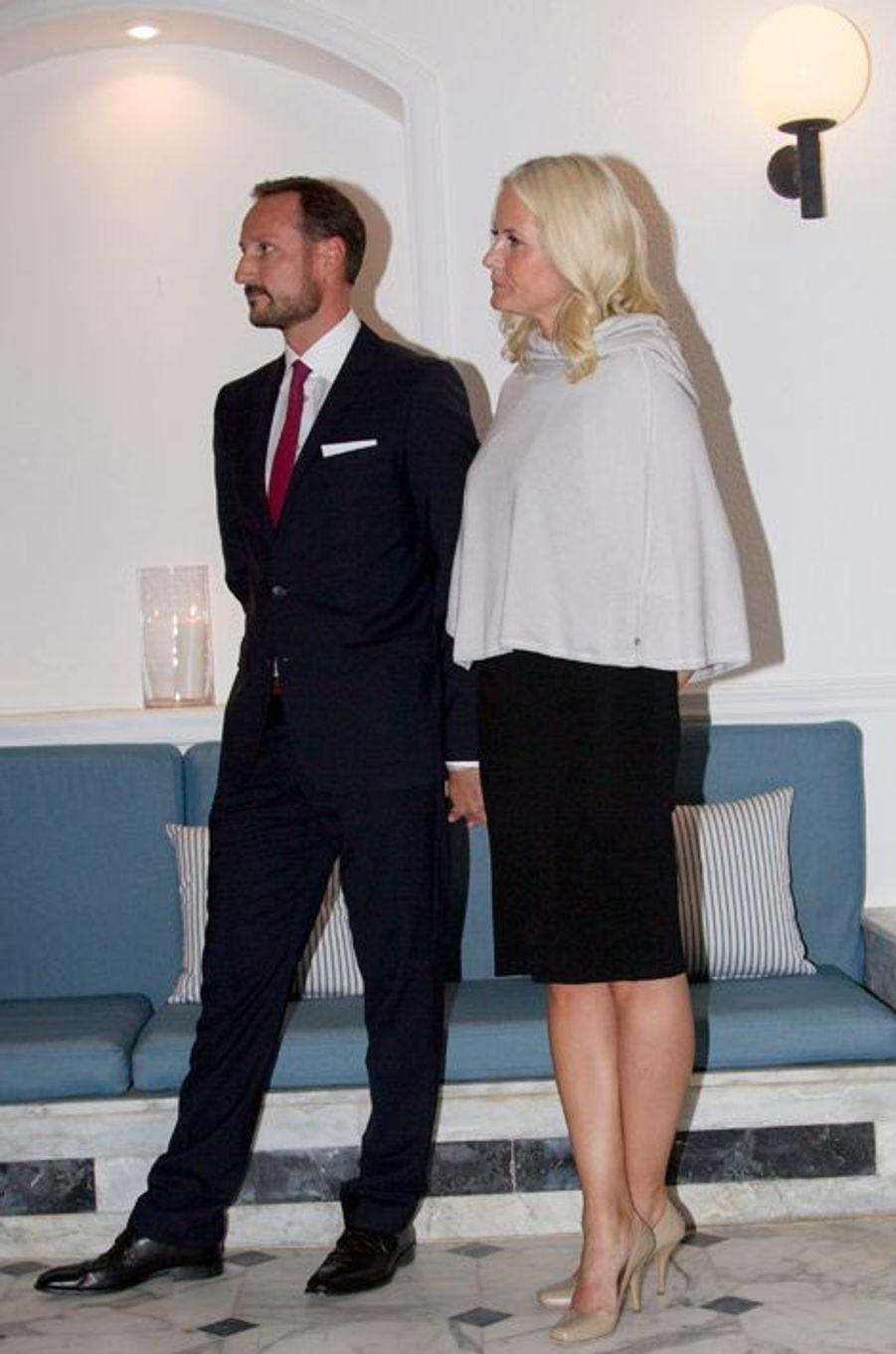 Mette-Marit et Haakon de Norvège invités à dîner à l'ambassade de Norvège à Amman, le 21 octobre 2014