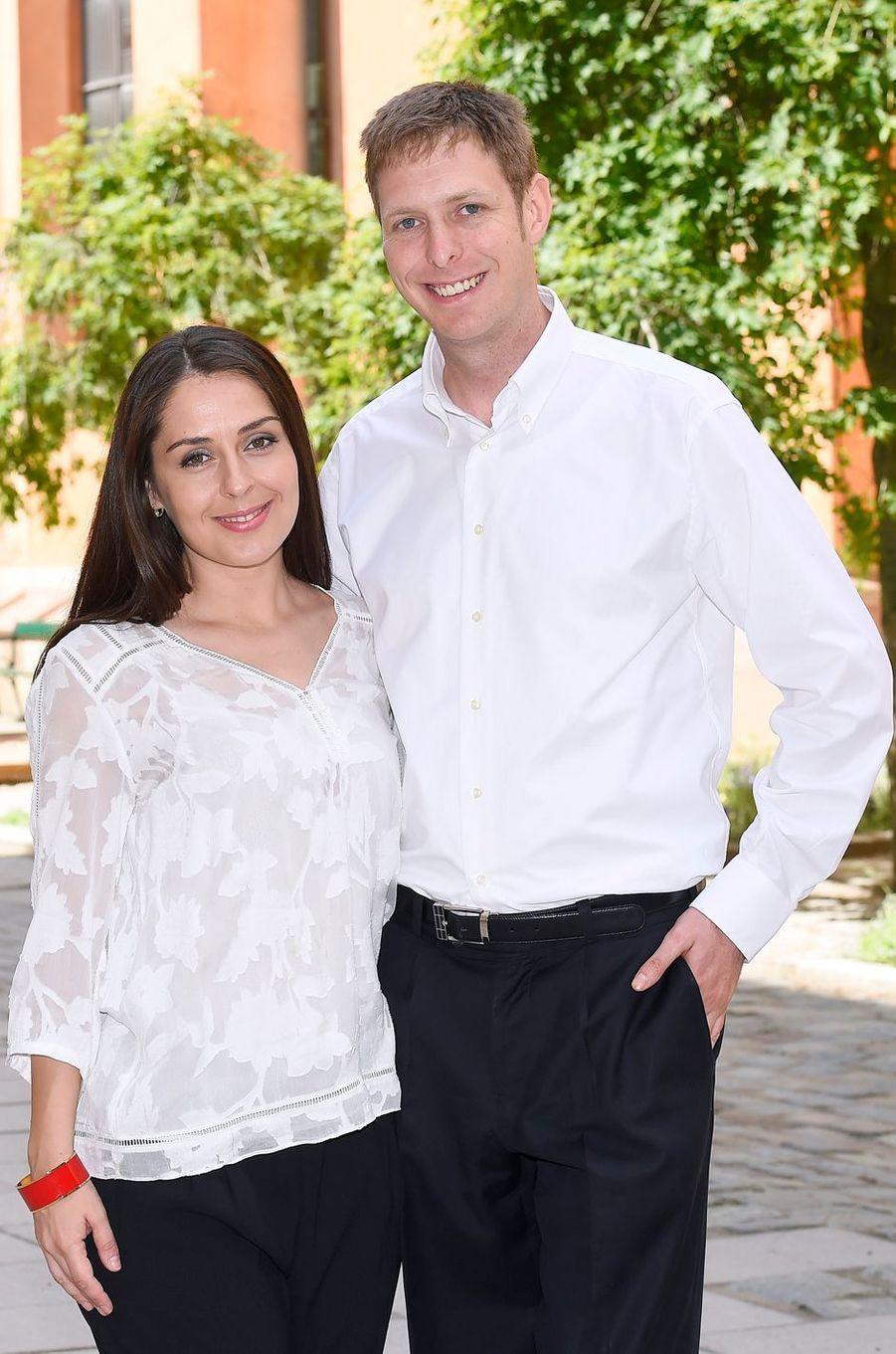 Le prince Leka II d'Albanie et sa fiancée Elia Zaharia à Stockholm, le 4 juillet 2016