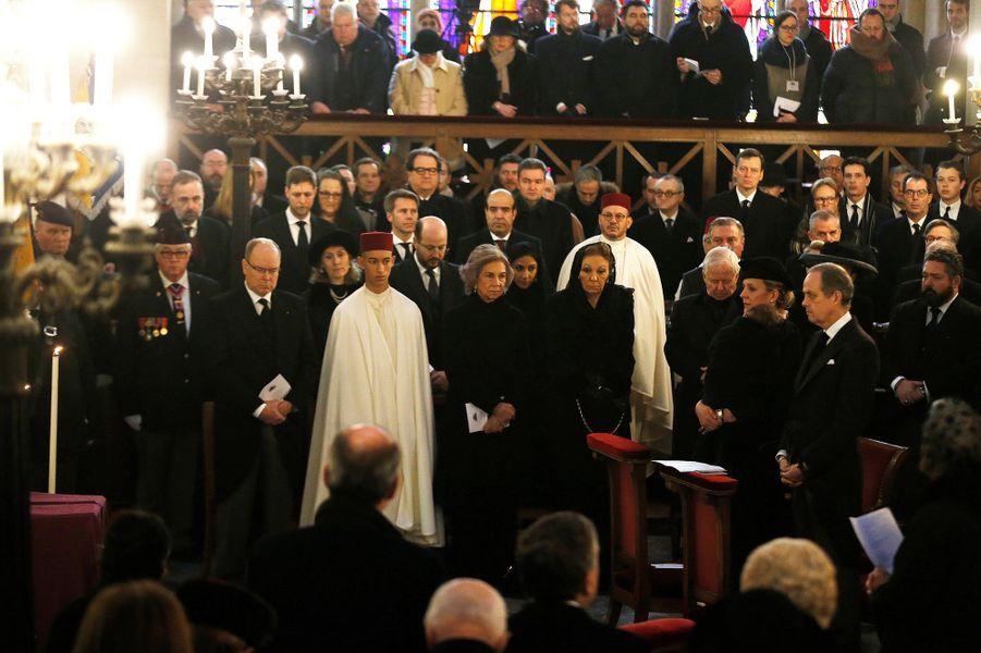 Le prince Moulay El Hassan du Maroc aux obsèques du comte de Paris à Dreux, le 2 février 2019