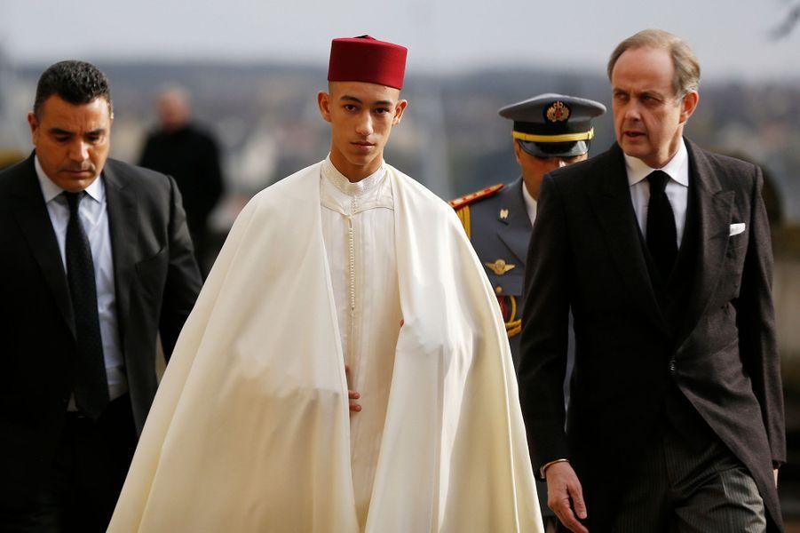 Le prince héritier Moulay El Hassan du Maroc avec le prince Jean d'Orléans à Dreux, le 2 février 2019