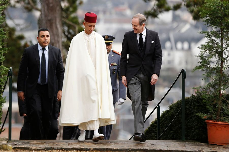 Le prince Moulay El Hassan du Maroc avec le prince Jean d'Orléans à Dreux, le 2 février 2019