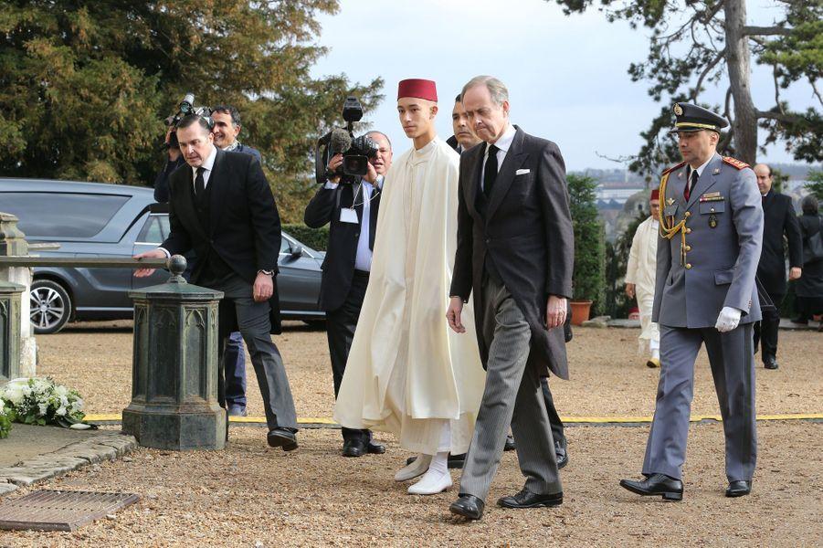 Le prince Moulay El Hassan du Maroc le 2 février 2019 aux obsèques d'Henri d'Orléans, comte de Paris à Dreux