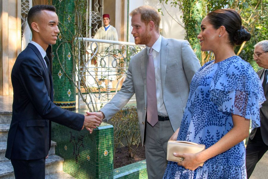 Le prince Moulay El Hassan du Maroc avec le prince Harry et Meghan Markle à Rabat, le 25 février 2019