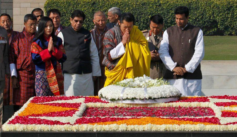 Au mémorial du Mahatma Gandhi à New Delhi