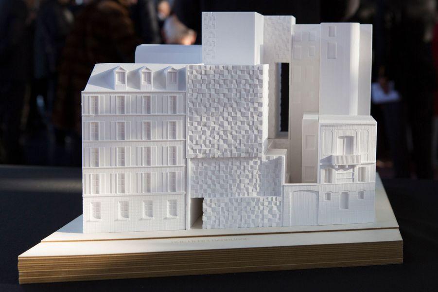 La maquette du futur centre culturel marocain de Paris présenté à l'Institut du monde arabe le 17 février 2016