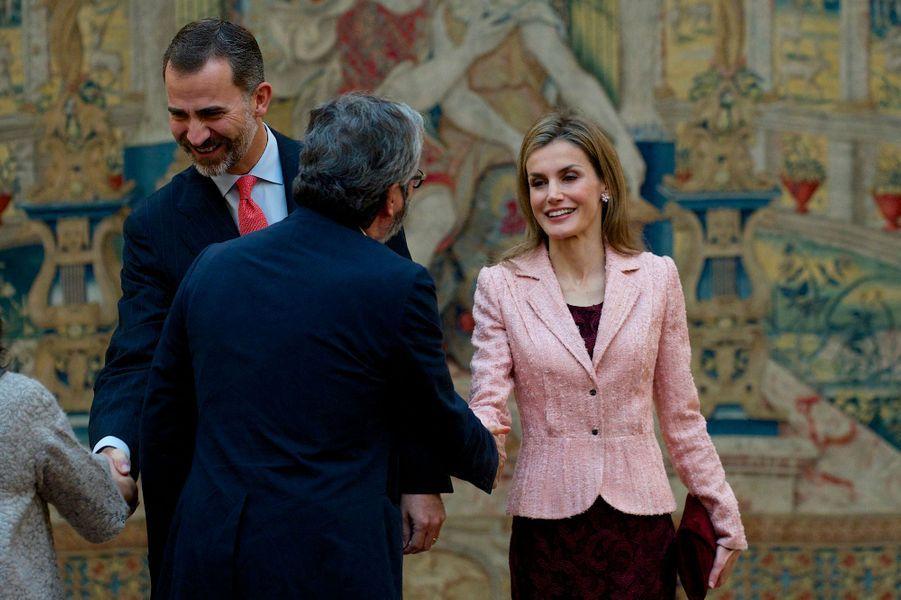 Le roi Felipe VI d'Espagne et la reine Letizia à la réunion annuelle du Conseil de l'Institut Cervantes, le 9 octobre
