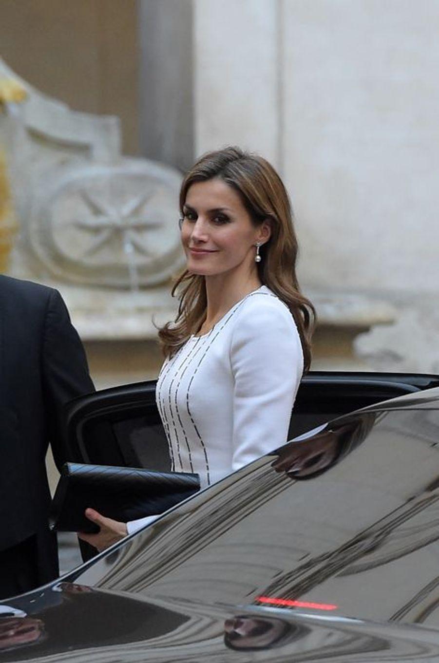 La reine Letizia d'Espagne à Rome, le 19 novembre 2014