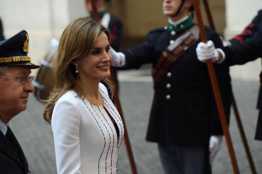 La reine Letizia d'Espagne en visite officielle à Rome, le 19 novembre 2014