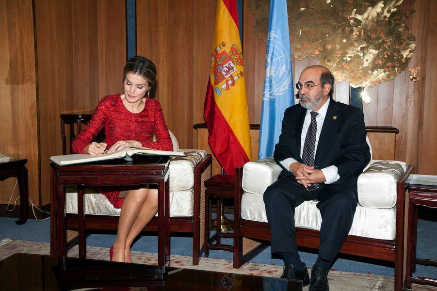 La reine Letizia d'Espagne participe à la deuxième Conférence internationale sur la nutrition à Rome, le 20 novembre 2014