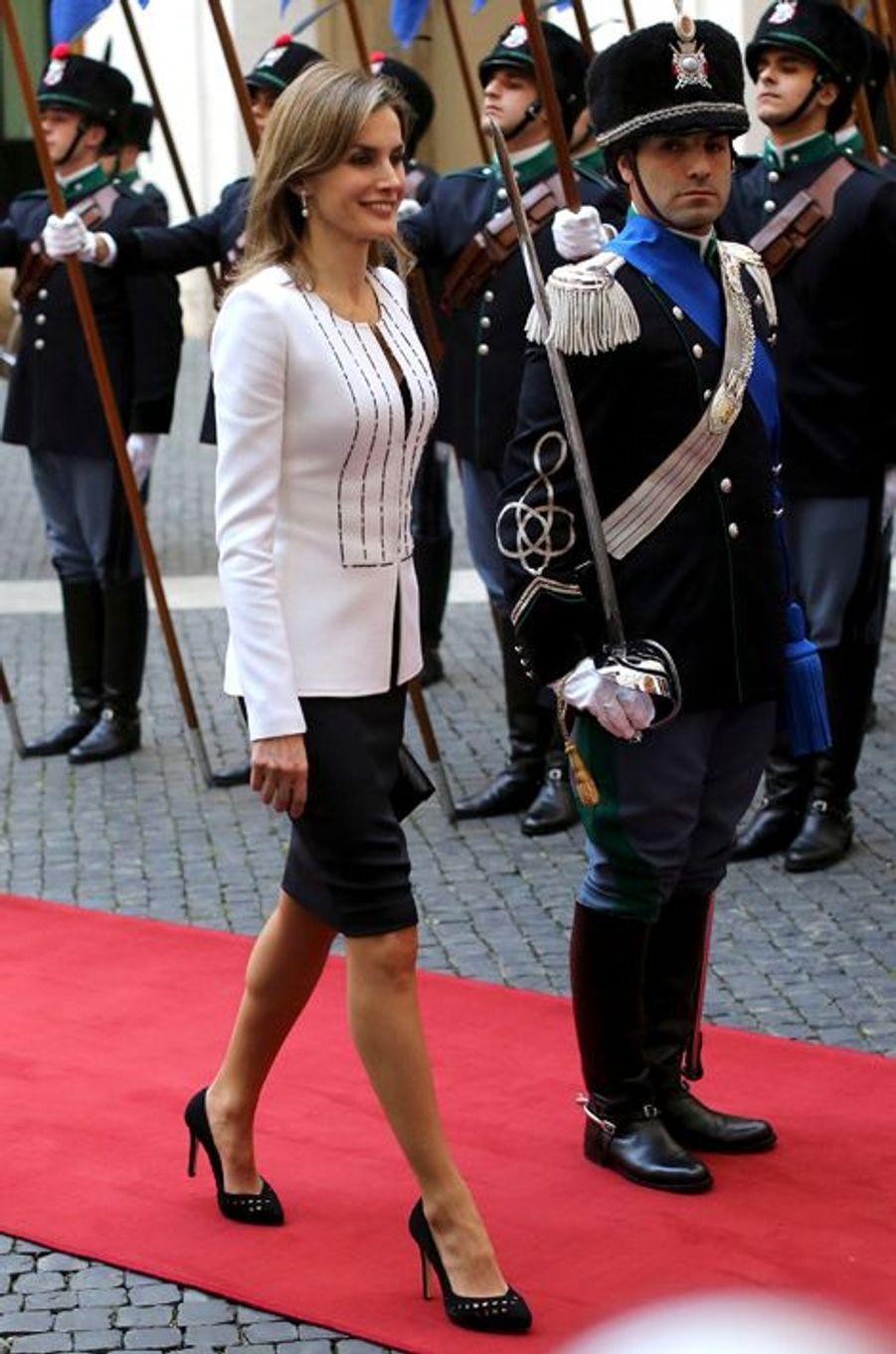 Le roi Felipe VI d'Espagne et la reine Letizia en visite officielle à Rome, le 19 novembre 2014