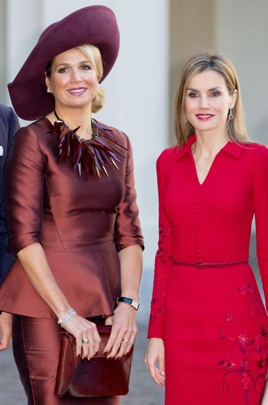 La reine Maxima des Pays-Bas et la reine Letizia d'Espagne à La Haye, le 15 octobre 2014