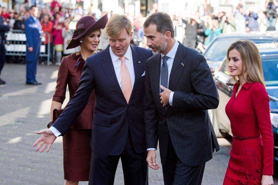Le roi Felipe VI d'Espagne et la reine Letizia en visite officielle aux Pays-Bas auprès du roi Willem-Alexander et la reine Maxima, le 15 octobre...