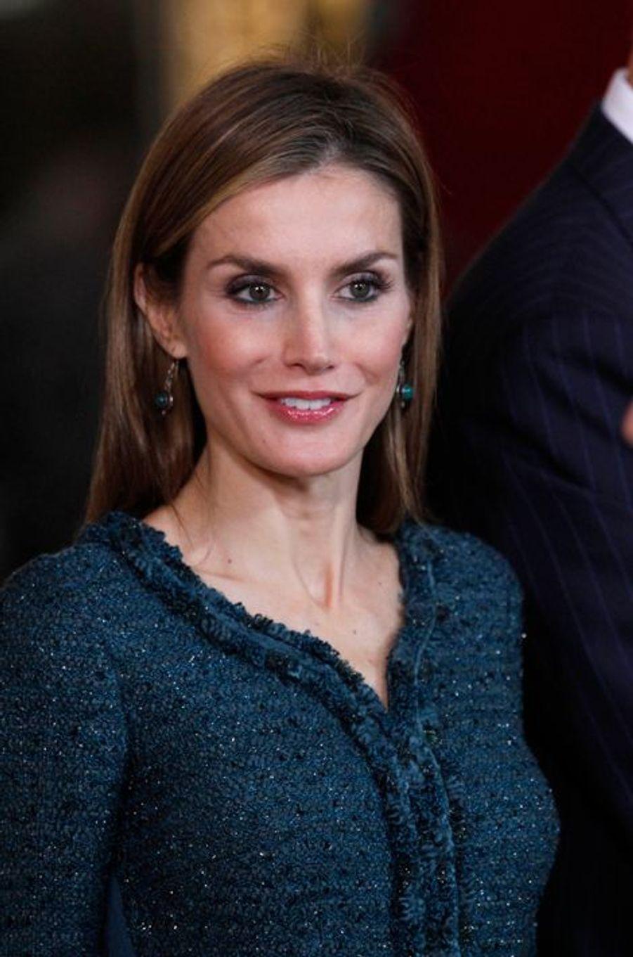La reine Letizia d'Espagne à la Fête nationale d'Espagne, le 12 octobre 2014