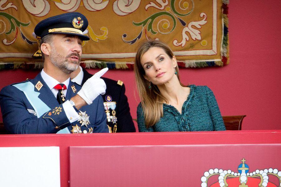 Le roi Felipe VI d'Espagne et la reine Letizia à la Fête nationale d'Espagne, le 12 octobre 2014