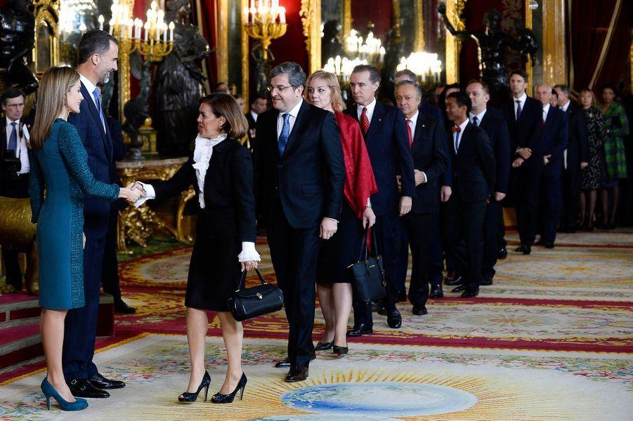 Le roi Felipe VI d'Espagne, la reine Letizia accueillent leurs invités au Palais royal de Madrid pour la Fête nationale d'Espagne, le 12 octob...
