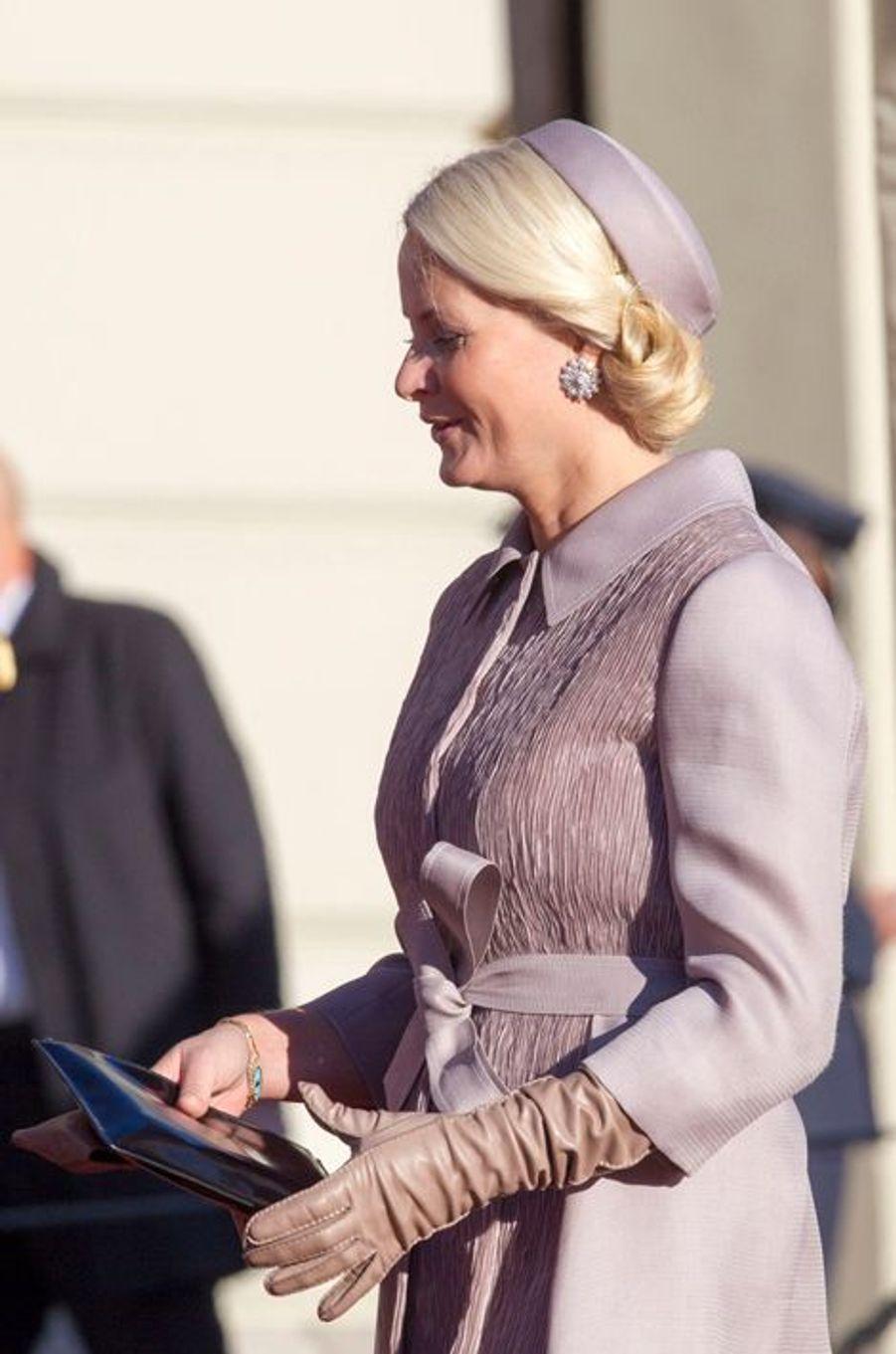 La princesse Mette-Marit lors de la visite officielle du président indien Pranab Mukherjee et de sa fille à Oslo, le 13 octobre 2014