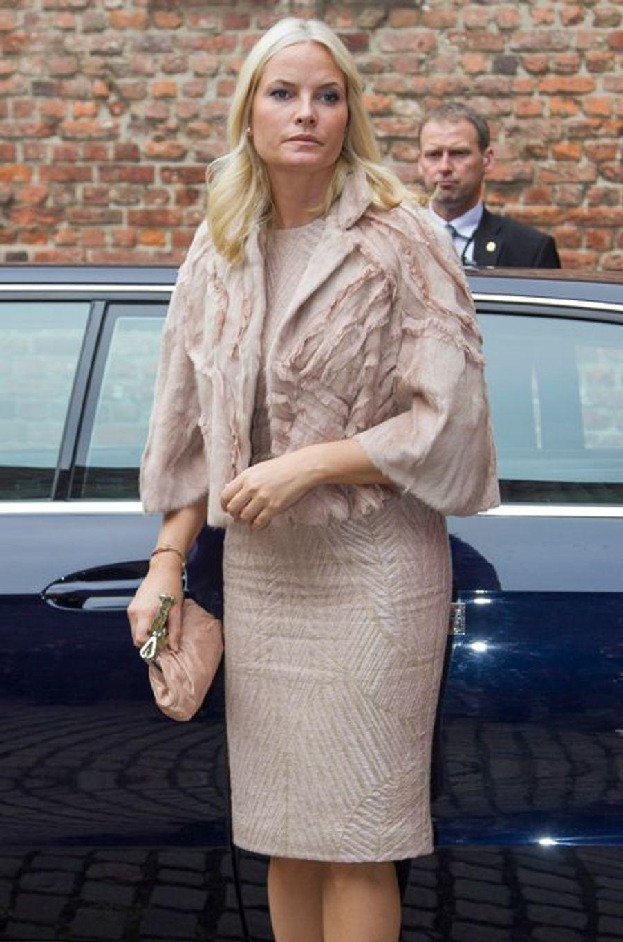 La princesse Mette-Marit de Norvège lors du voyage officiel du président indien Pranab Mukherjee à Oslo le 14 octobre 2014