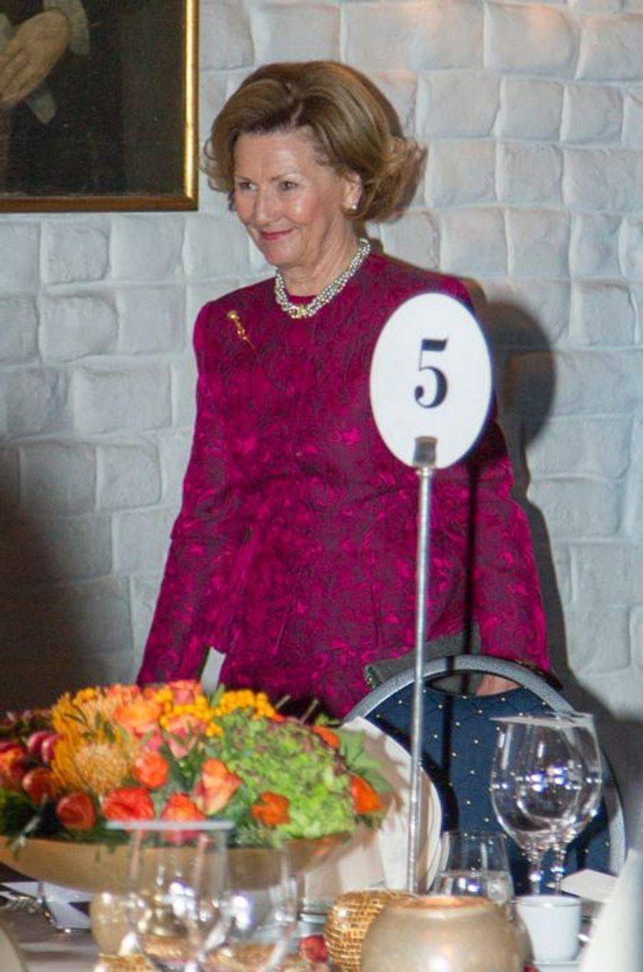 La reine Sonja de Norvège au château d'Akershus à Oslo le 14 octobre 2014