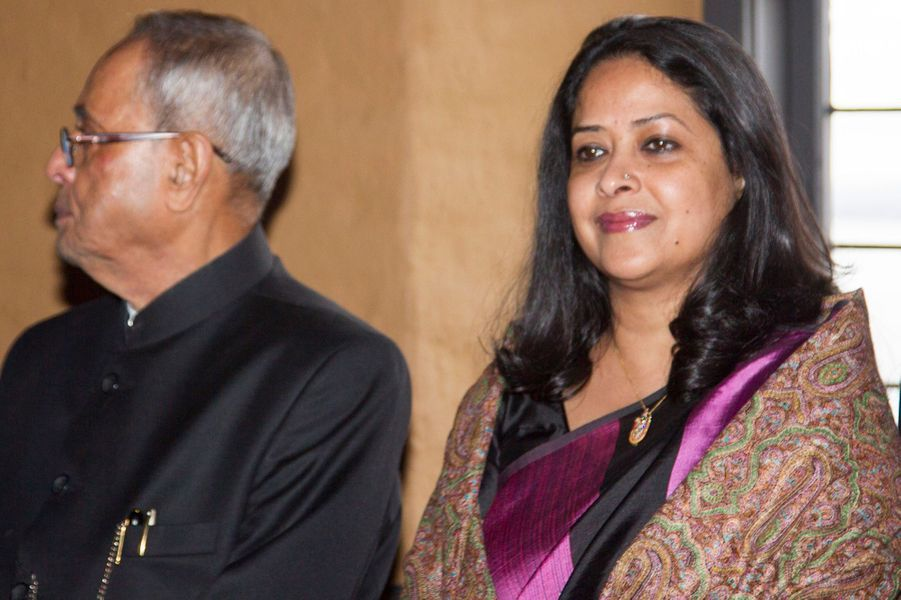 Le président indien Pranab Mukherjee et sa fille Sharmistha à Oslo le 14 octobre 2014