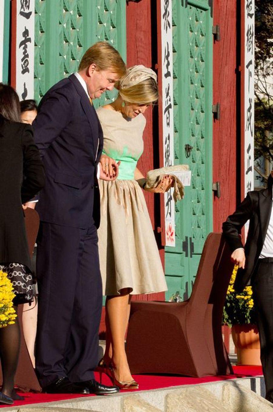 Le roi Willem-Alexander des Pays-Bas et la reine Maxima visitent le Gyeongbokgung Palace à Séoul, le 3 novembre 2014
