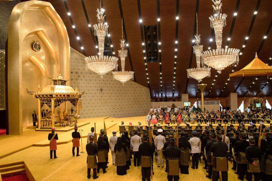 Cérémonie pour le jubilé d'or des 50 ans de règne du sultan de Brunei Hassanal Bolkiah à Bandar Seri Begawan le 5 octobre 2017