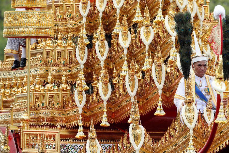 Détail du chariot royal lors des funérailles du roi Bhumibol de Thaïlande, le 26 octobre 2017