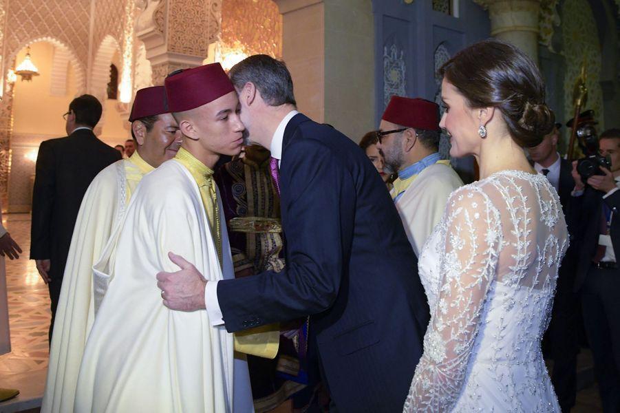 Le prince Moulay El Hassan du Maroc avec le roi Felipe VI et la reine Letizia d'Espagne, à Rabat le 13 février 2019