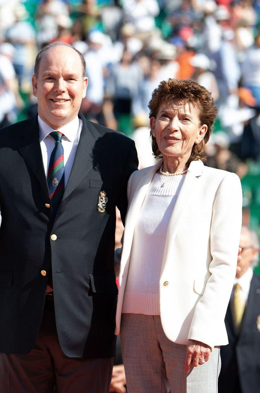 La baronne Elizabeth-Ann de Massy, avec le prince Albert II de Monaco, le 22 avril 2018
