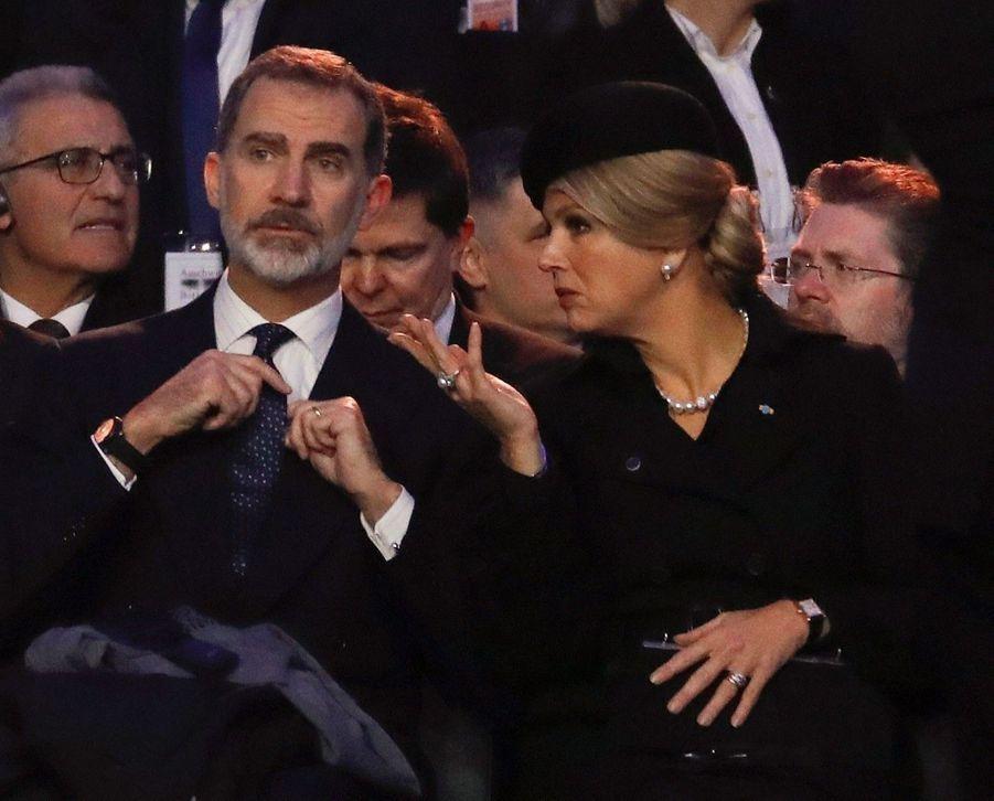 Le roi Felipe VI d'Espagne et la reine Maxima des Pays-Bas à Auschwitz-Birkenau, le 27 janvier 2020