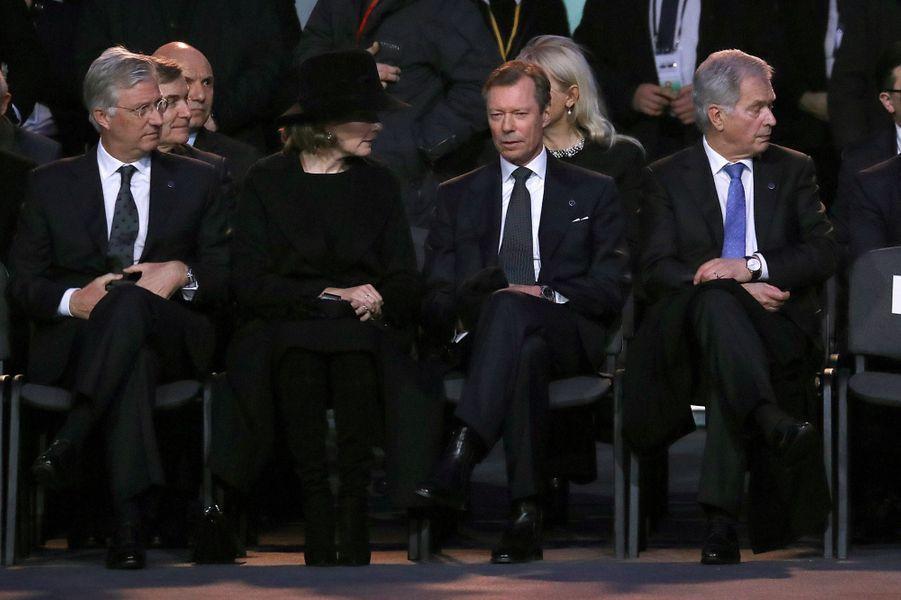 Le roi des Belges Philippe, la reine Mathilde et le grand-duc Henri de Luxembourg à Auschwitz-Birkenau, le 27 janvier 2020