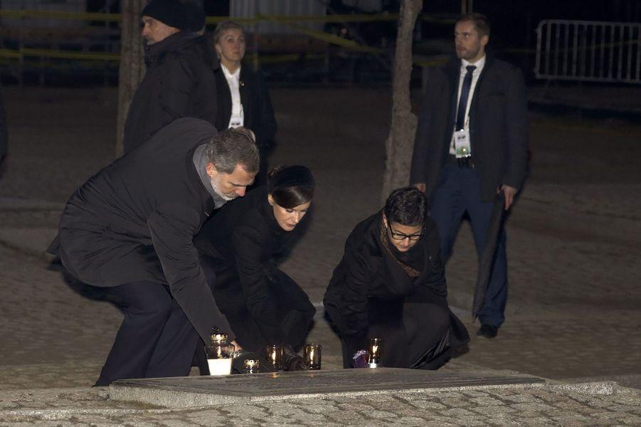 La reine Letizia et le roi Felipe VI d'Espagne à Auschwitz-Birkenau, le 27 janvier 2020