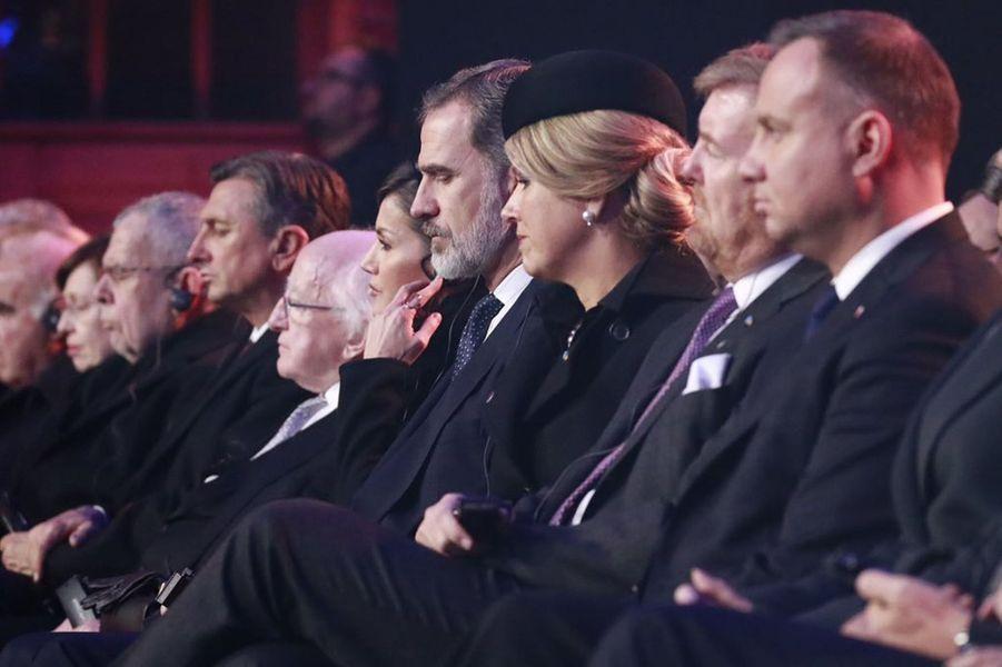 La reine Letizia et le roi Felipe VI d'Espagne, la reine Maxima et le roi Willem-Alexander des Pays-Bas à Auschwitz-Birkenau, le 27 janvier 2020
