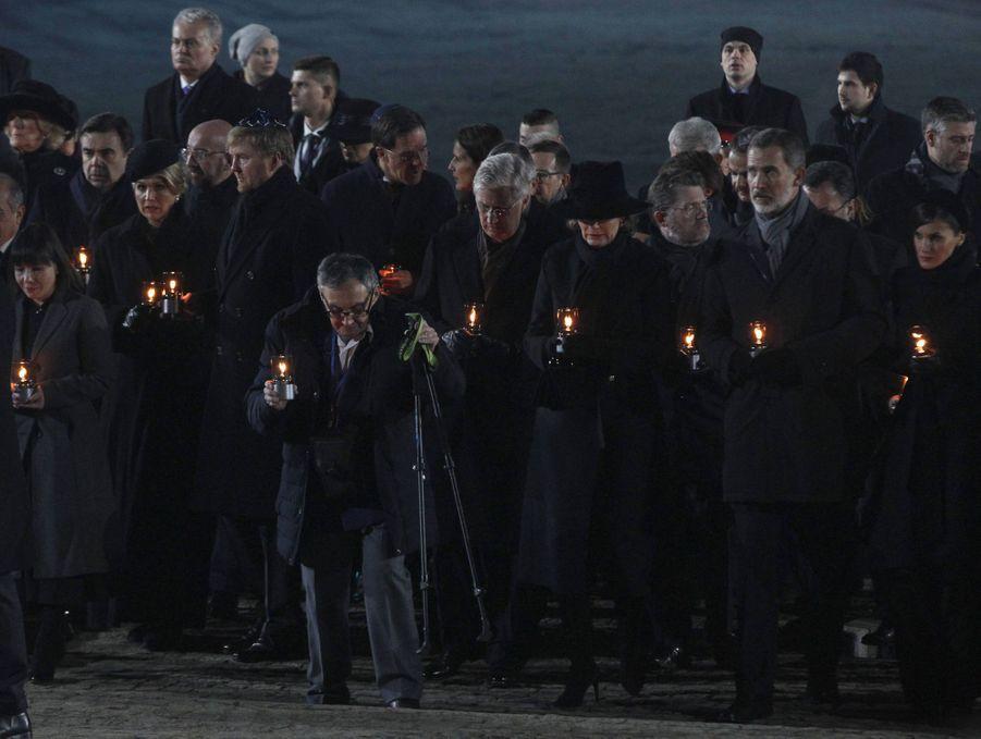 Les rois et reines des Pays-Bas,des Belges etd'Espagne à Auschwitz-Birkenau, le 27 janvier 2020