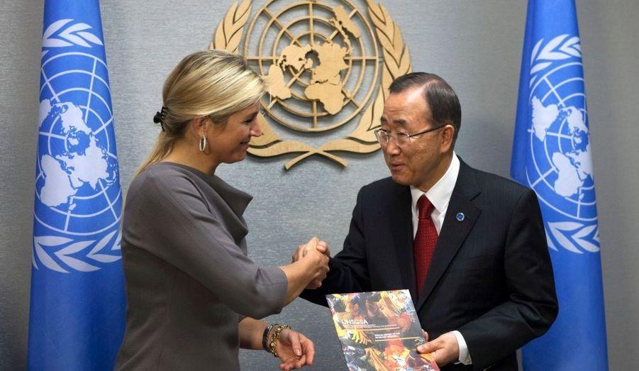La princesse Maxima des Pays-Bas et le Secrétaire général de l'Onu Ban Ki-moon