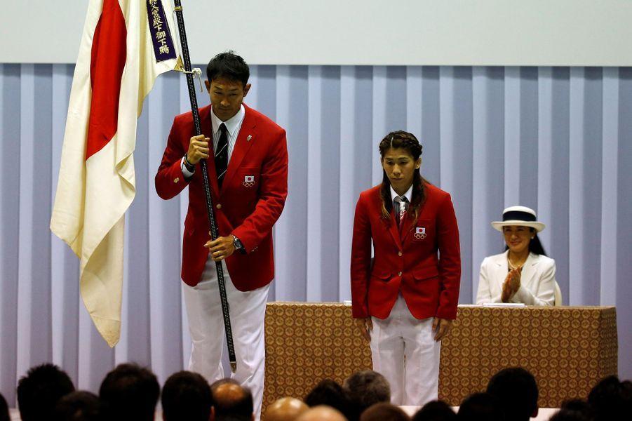 La princesse Masako du Japon a assisté avec son époux le prince Naruhito à une cérémonie à Tokyo en prélude aux Jeux olympiques de Rio, ce dimanche 3 juillet.