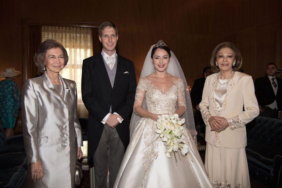La reine Sofia, le Prince Leka II, Elia Zaharia et l'impératrice Farah Diba.