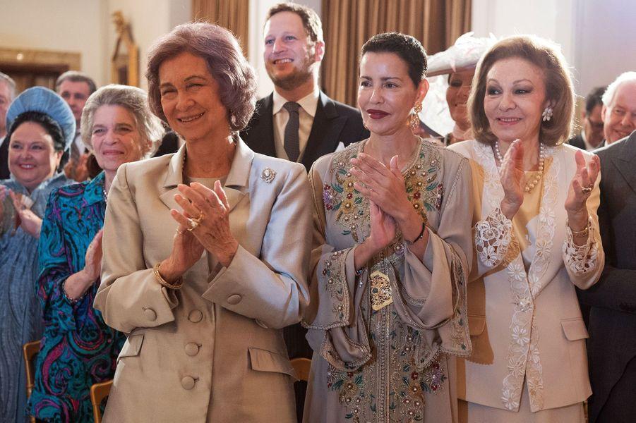 La reine Sofia d'Espagne, la princesse Lalla Meryem du Maroc et l'impératrice Farah Diba.