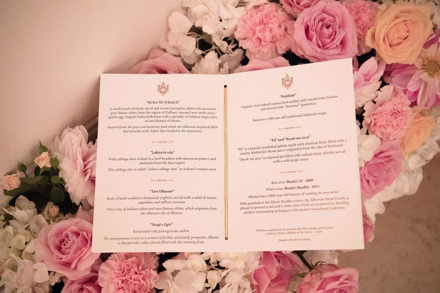 Le menu du repas de mariage.