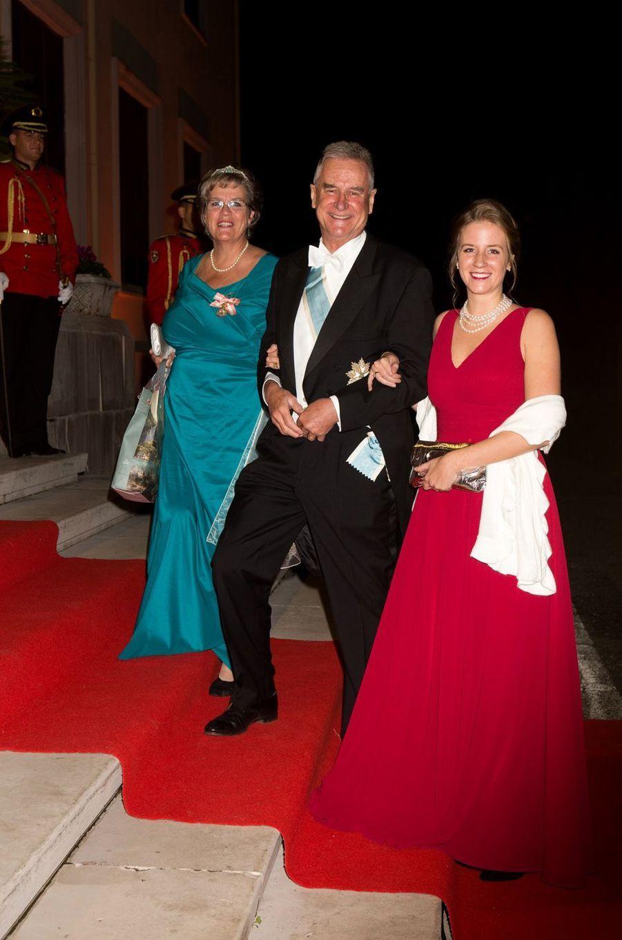 Le prince Gundakar de Liechtenstein, la princesse Marie de Liechtenstein et leur fille la princesse Léopoldine