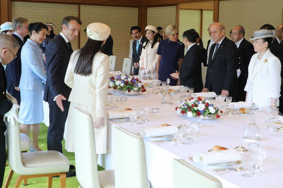 Le déjeuner offert par l'empereur Naruhito et l'impératrice Masako du Japon à Emmanuel et Brigitte Macron à Tokyo, le 27 juin 2019