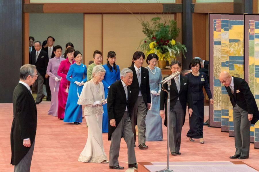 L'impératrice Michiko et l'empereur Akihito du Japon avec la famille impériale à Tokyo, le 25 février 2019