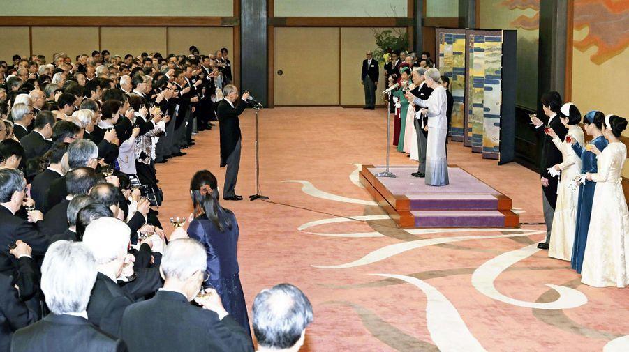 L'impératrice Michiko et l'empereur Akihito du Japon avec la famille impériale à Tokyo, le 26 février 2019