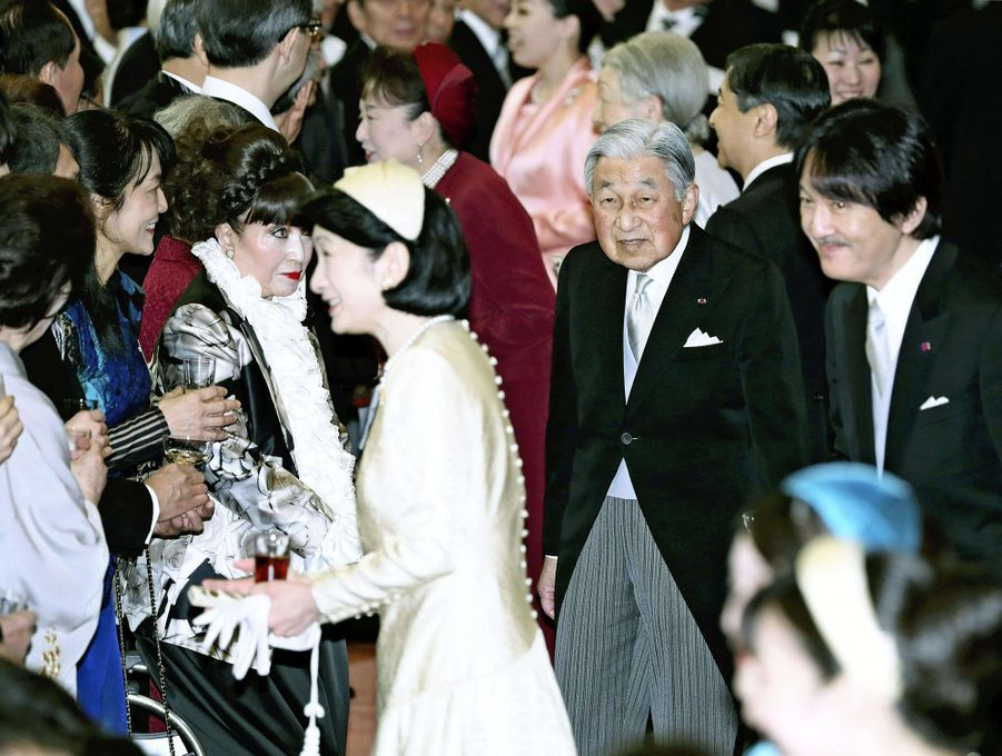 L'empereur Akihito avec la princesse Kiko et le prince Akishino du Japon à Tokyo, le 26 février 2019