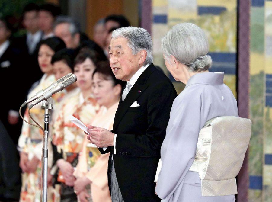 L'impératrice Michiko et l'empereur Akihito du Japon à Tokyo, le 26 février 2019