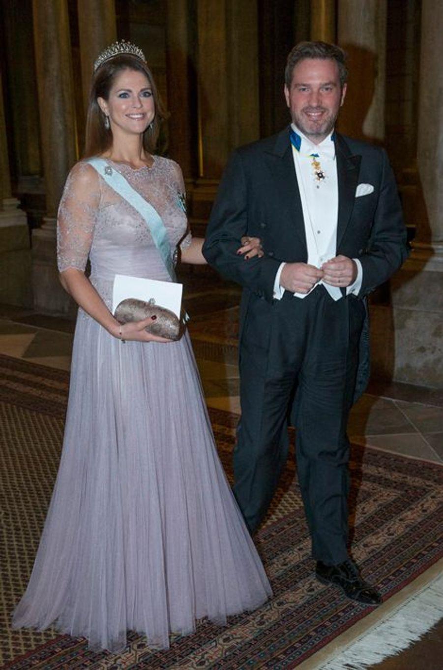 La princesse Madeleine de Suède et Christopher O'Neill, son mari, au palais royal à Stockholm, le 11 décembre 2014