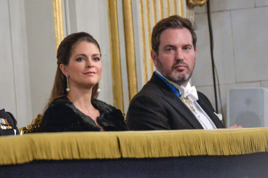 La princesse Madeleine de Suède et Christopher O'Neill à l'Académie suédoise à Stockholm, le 20 décembre 2014