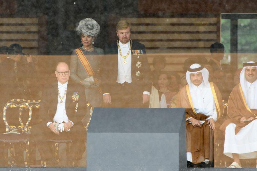La reine Maxima et le roi Willem-Alexander des Pays-Bas avec le prince Albert II de Monaco à Tokyo, le 22 octobre 2019
