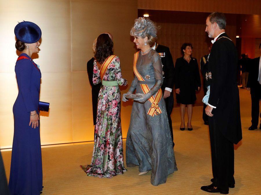 La princesse héritière Victoria de Suède avec la reine Maxima et le roi Willem-Alexander des Pays-Bas à Tokyo, le 22 octobre 2019
