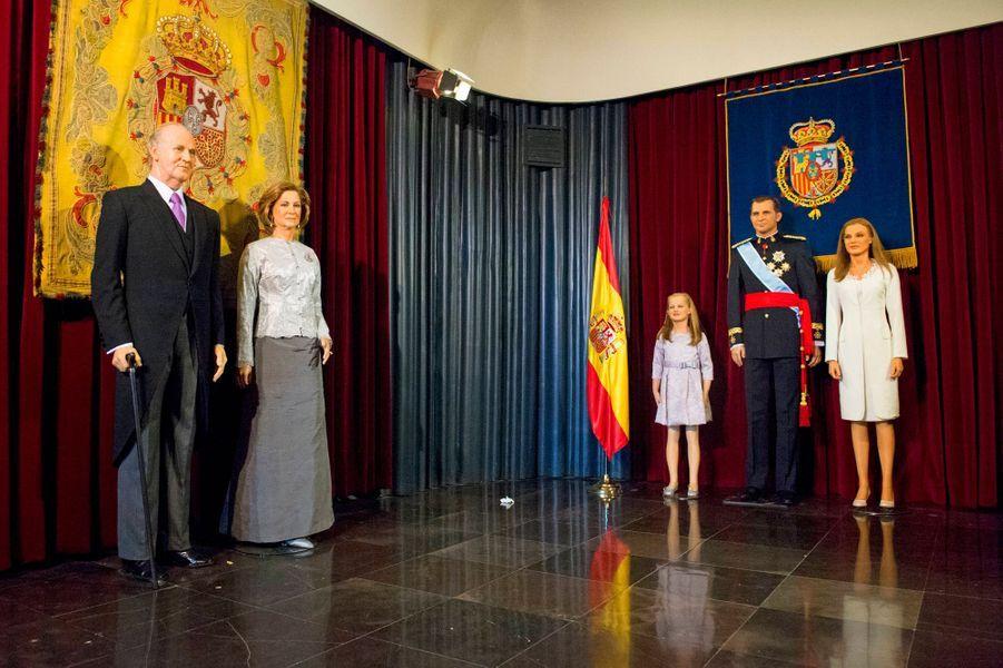 La salle de la famille royale d'Espagne au Museo de Cera à Madrid, le 12 octobre 2014